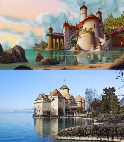 A Pequena Sereia Castelo de Eric, em A Pequena Sereia.  Inspiração: Castelo de Chillon, na Suíça.