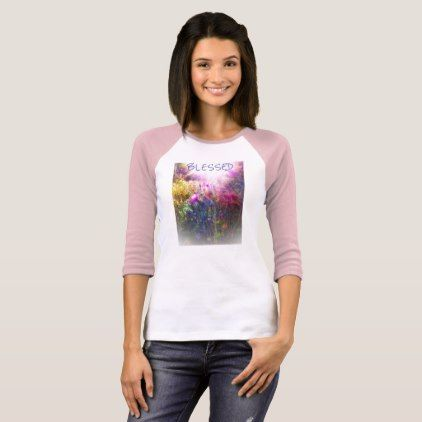 BLESSED THISTLE PINK SLEEVE RAGLAN SHIRT - photos gifts image diy customize gift idea