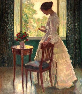 A lady reading a book by Ernst Liebermann born May 8, 1869 in Langemuss (Meiningen), Germany died February 11, 1960 (90) in Beuerberg (Oberbayern), Germany