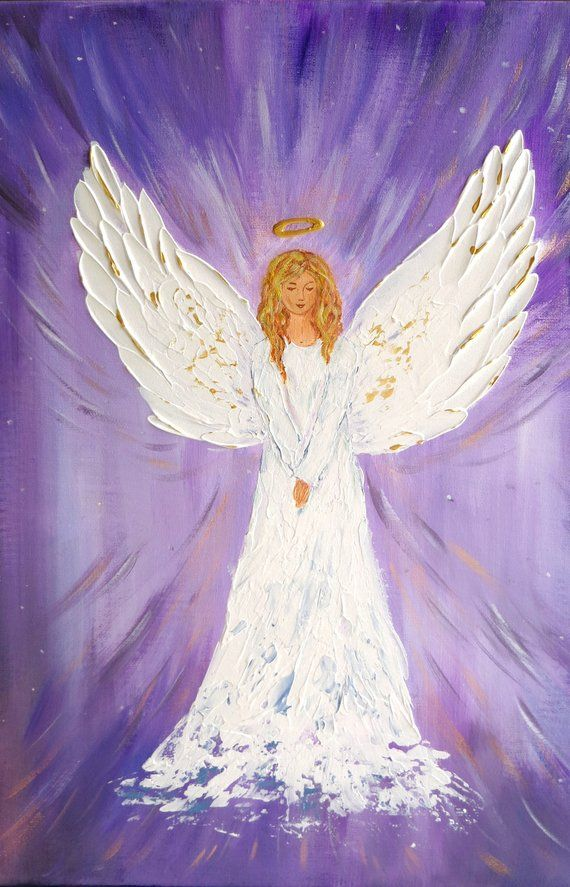 Original Angel Painting Guardian Angel White Angel Wings Wall Etsy Angel Artwork Angel Drawing Angel Painting