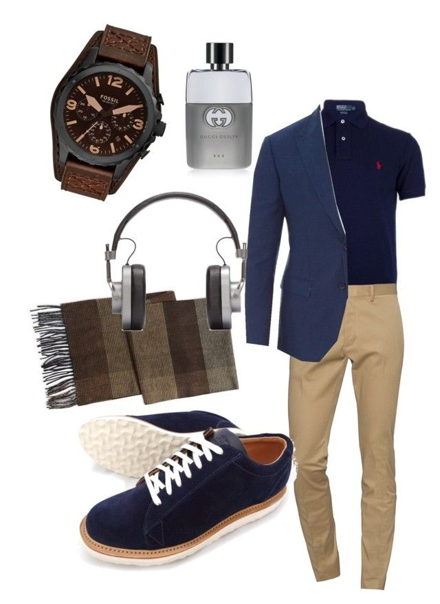 """Style"" by fashion-girl-katrina on Polyvore featuring BLACK BROWN 1826, Ralph Lauren Blue Label, Dsquared2, Dolce&Gabbana, FOSSIL, Master & Dynamic, Gucci, mens, men and men's wear"