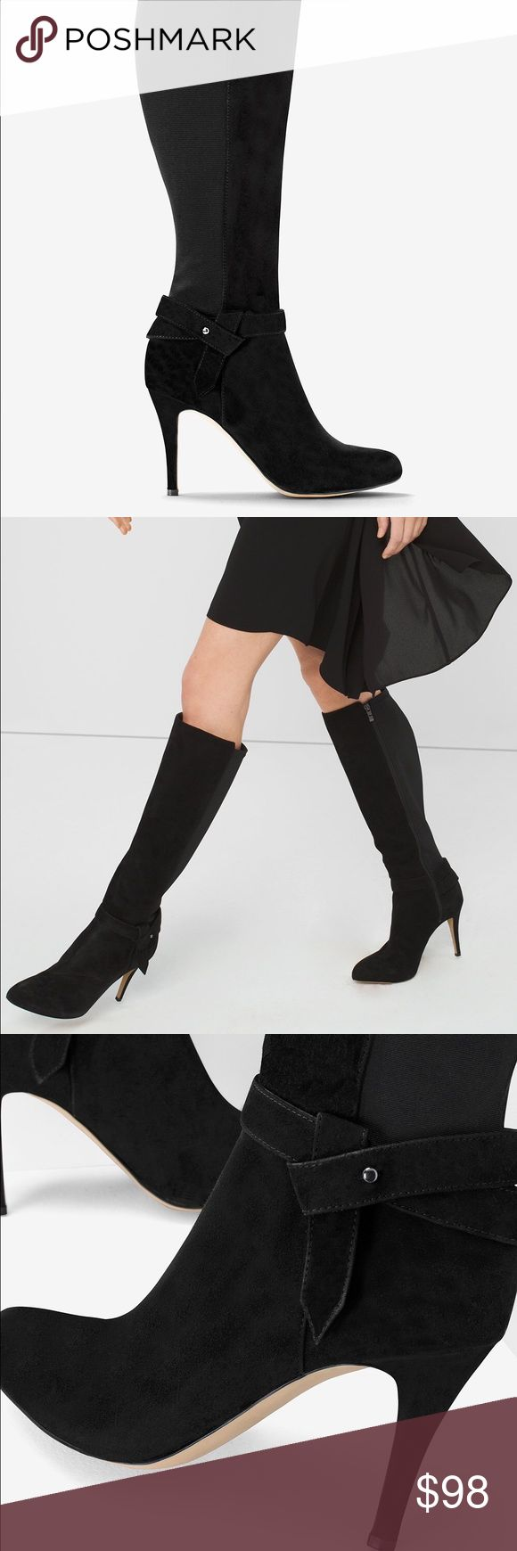 SUEDE 50/50 STRETCH HEELED BOOTS SUEDE 50/50 STRETCH HEELED BOOTS  $149.99 $225.00 BLACK  The fall favorite with a twist—these knee-high black suede boots feature wrapped straps and a stretch gore back for comfort through the calves. An absolute essential with all your LBDs. Suede and stretch knee-high boots Approx. 3 1/2 Suede and manmade materials ; synthetic sold  Suede Caged Heels SUEDE CAGED HEELS. New and never worn. No original box. White House Black Market Shoes Heeled Boots