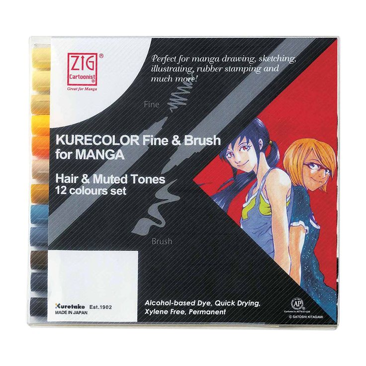 Zestaw Kurecolor Fine & Brush For Manga 12 Hair & Muted