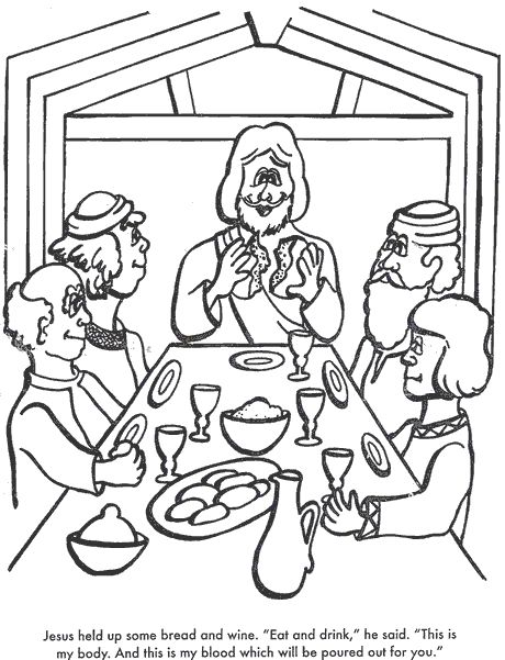the last supper bible coloring page for kids to learn bible stories