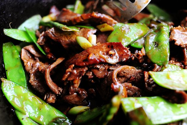 Beef with Snow Peas by thepioneerwoman: All the instructions you need for this yummy stir fry. Subbed Broccoli :)