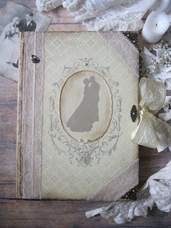 Vintage wedding guest book shabby chic wedding by BethStyleBook