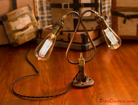 Edison Bulb Table Lamp  Desk Lamp Steampunk Light  Industrial Lamp BULB INCLUDED. $200.00, via Etsy.
