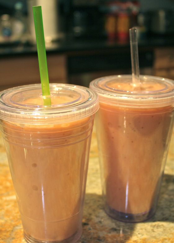 Strawberry Peach Banana Smoothie using frozen fruit instead of ice ...