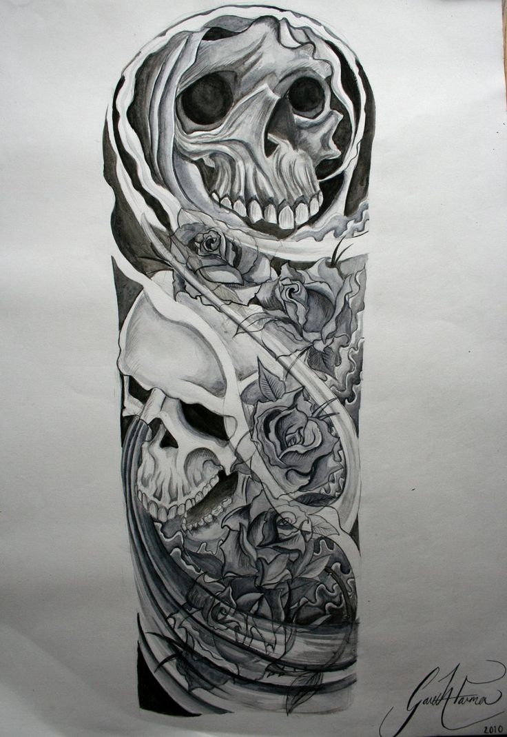 Skull and roses Sleeve Tattoo Designs | Skulls and roses tattoo sleeve watercolour by ~GazFarmerArt on ...