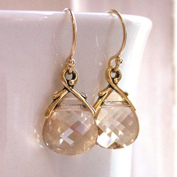 Gold earrings Swarovski Crystal gold branch by KGarnerDesigns, $23.00