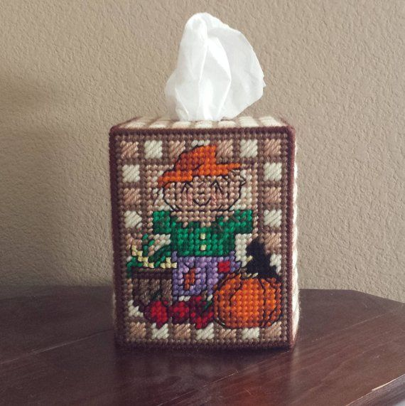 Fabric tissue Box cover Square Fall Leaves Turkeys Scarecrow Halloween Ghost