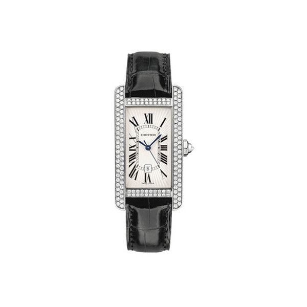 Cartier Tank Americaine Diamond Bezel Automatic 18 kt White Gold... ($38,000) ❤ liked on Polyvore featuring jewelry, watches, cartier wrist watch, cartier crown, white gold jewellery, white gold jewelry and crown jewelry