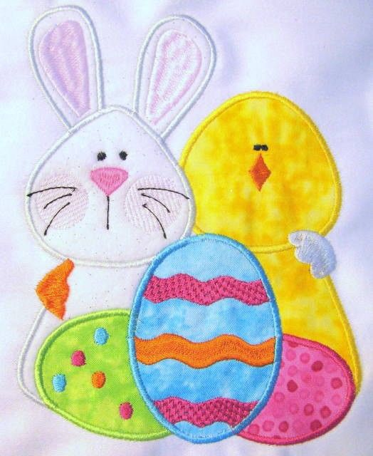 Bunny and Chick Machine Applique Embroidery Design - 4x4, 5x7  #2014 #Easter #Day #sign #decor #craft #ideas www.loveitsomuch.com