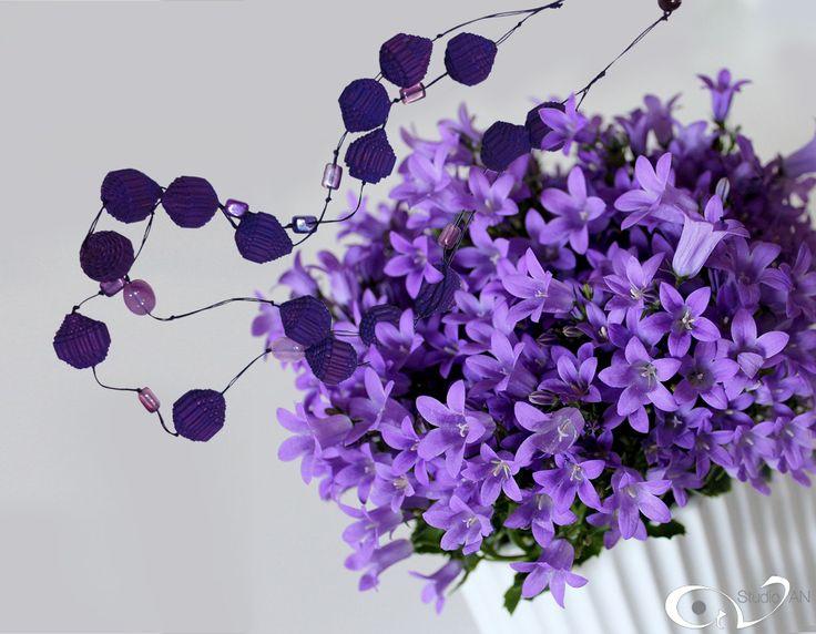 Paper aubergine corrugated cardboard beads. Necklace with semi precious stones. http://www.studioan.com