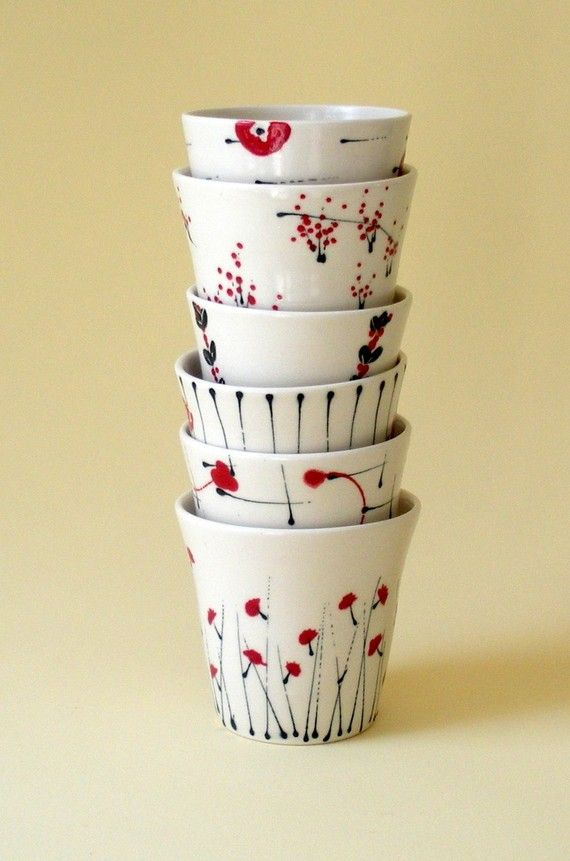 Set of 8 porcelain cups (72), hand-thrown and painted by Kristen Swanson at Etsy