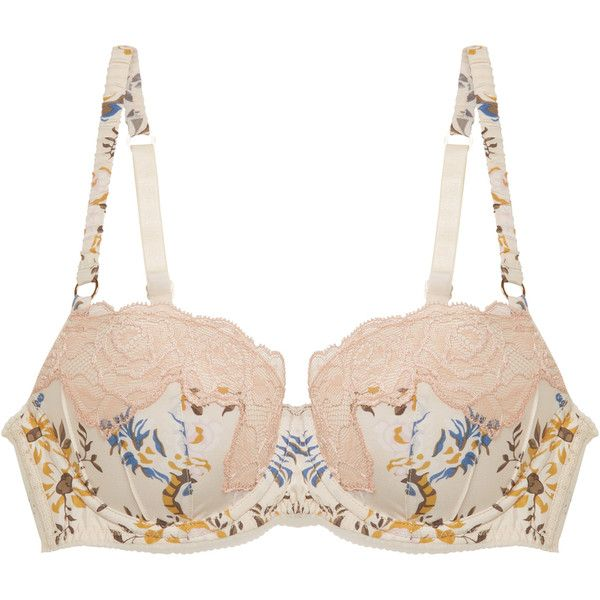 Stella McCartney Lingerie Women's Ellie Leaping Contour Bra - Size 32A ($59) ❤ liked on Polyvore featuring intimates, bras, multi, stella mccartney bra, stella mccartney, lace underwire bra, lace bra and lacy bras
