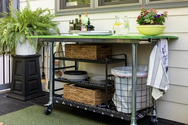 How To Turn A Stainless Steel Cart Into An Outdoor Kitchen Island In 2020 Outdoor Kitchen Island Outdoor Kitchen Kitchen Island On Wheels