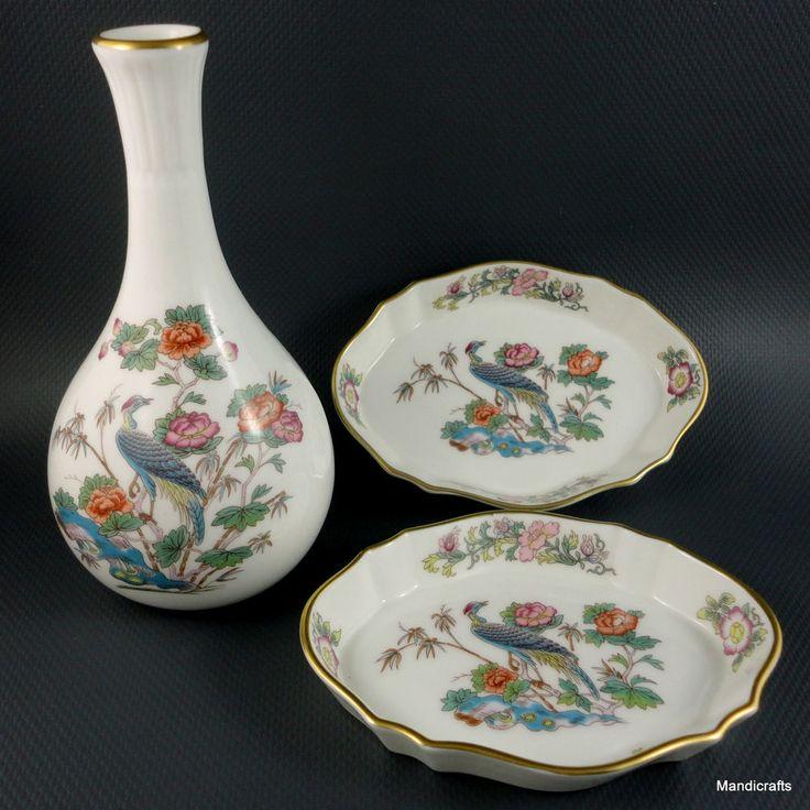 #Wedgwood Bud Vase \u0026 Pin Dish Tray Pair #Kutani Crane Pattern c1980s Bone China. WedgwoodVintage DinnerwareBone ... & 168 best Vintage Dinnerware Tableware Crockery images on Pinterest ...