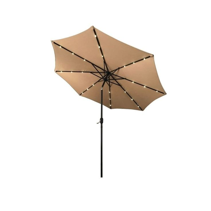 Aleko 10-foot Solar LED-lighted Tilting Outdoor Patio Table Umbrella, Tan (Polyester) #UMB10L24TN-AO