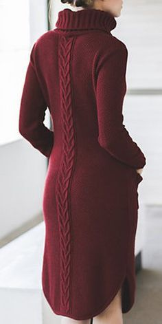 Burgundy Knitted Dress