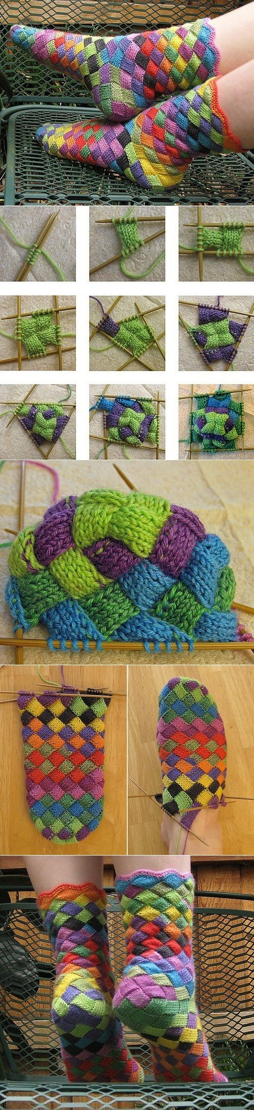 DIY Rainbow Knitted Socks | UsefulDIY.com Follow Us on Facebook ==> http://www.facebook.com/UsefulDiy | !GMO I'd learn to knit just for this. I've never wanted to knit until now, since I knitted a garter stitch scarf 55 years ago. This would be more difficult. lol