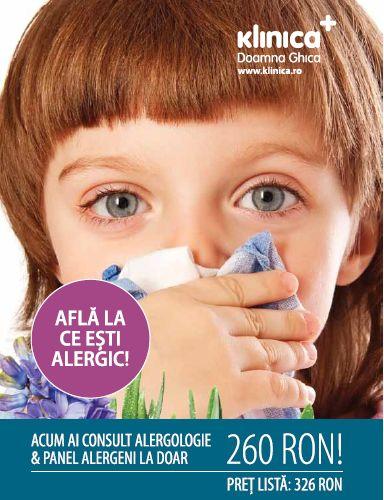 Afla la ce esti alergic!Acum ai consult alergologie & panel alergeni recomandat de medicul specialist la doar 260 RON!  Pret lista: 326 RON!