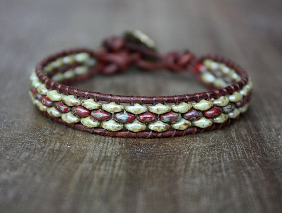 Red and Green Beaded Leather Wrap Bracelet by lamaisondefloria