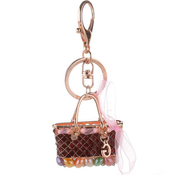 #Porte-clés bijoux Style Créateur #LUXE en forme de sac à main en Alliage de zinc style plaqué or pour femmes.