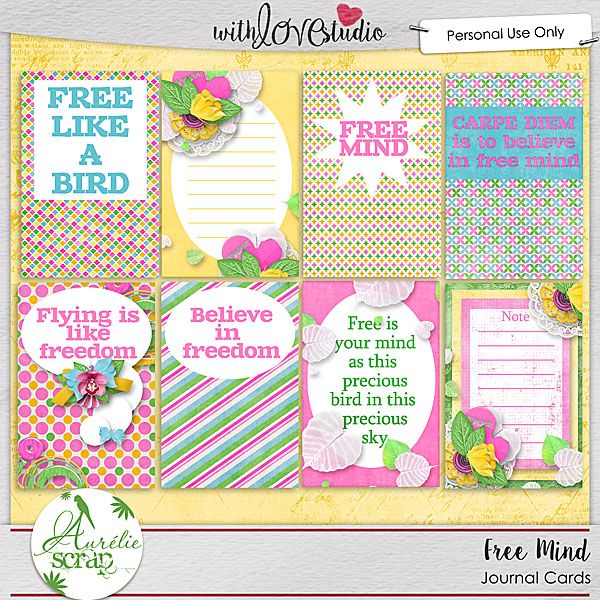 """Journal Cards """"Free Mind"""" by Aurélie Scrap. Some journal cards which will embellish your layouts... It contains : 8 journal cards"""