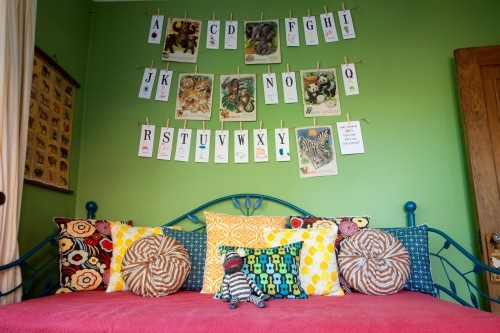 i love this day beds color story.: Idea, Alphabet Wall, Color, Green Wall, Child Rooms, Annalea Hart, Pillows, Kids Rooms, Kids Design
