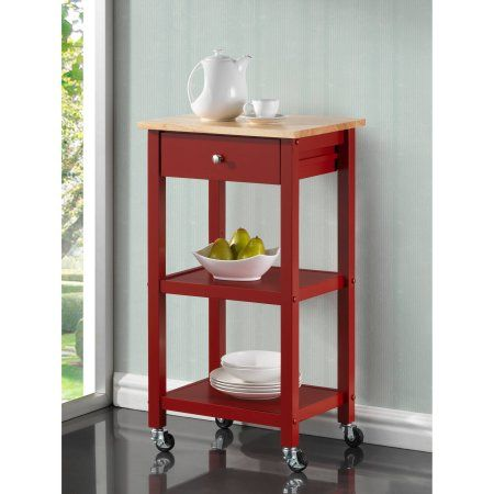 Roundhill Wood Kitchen Cart on Wheels, Multiple Colors Available, Red
