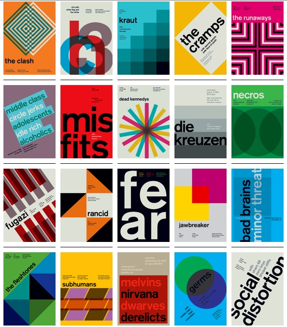 Swissted.com: old punk concert flyers reimagined as Swiss typography posters by Mike Joyce. I want them all.