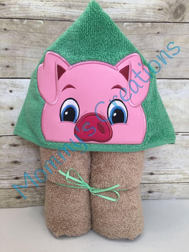 "Boy Pig Applique Hooded Bath Towel, Beach Towel 30"" x 54"" by MommysCraftCreations on Etsy"
