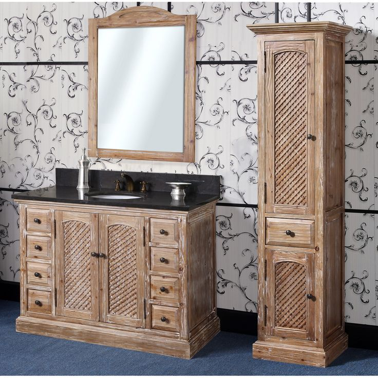 Images Photos Abel inch Rustic Single Sink Bathroom Vanity Natural Oak Finish Solid wood construction