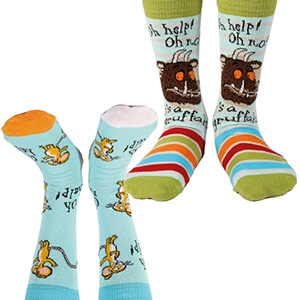 The Gruffalo: Gruffalo's 2 Socks Pair Pack - Stripes & Oh Help Oh No Mouse Blue Socks