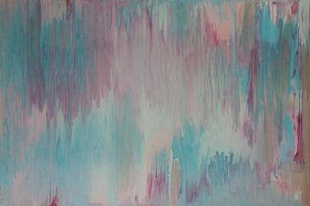 abstract pastel soft canvas original turquoise, pink, silver www.deesfunkyart.com.au free delivery Australia wide