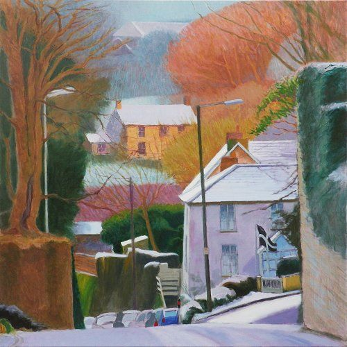 Wintry hillsides, St Columb Major painting by Tom Henderson Smith approx 100 x 100 cm. Acrylic on canvas