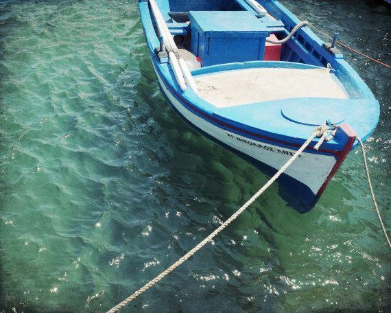 "Griechenland-Fotografie - Boot Print - Petrol Wand Kunst - Aqua blau Holzboot - Ozean-Kunst - Kunst für Männer - jungen Zimmer 8 x 10 ""Aqua Boat"""