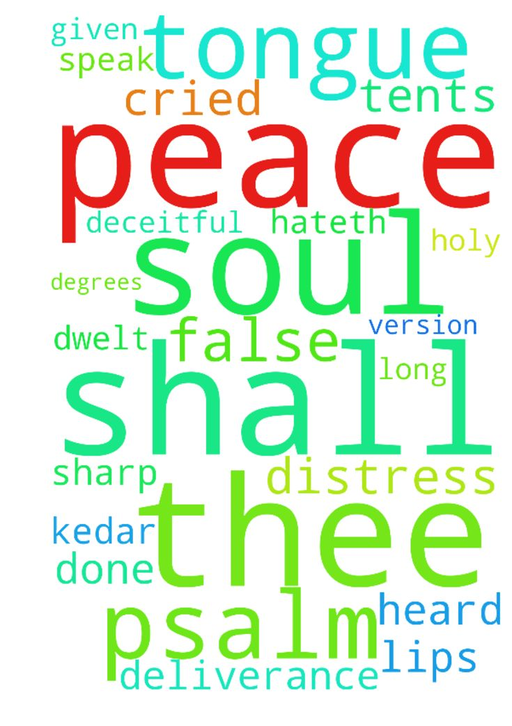 psalm 120 -  The Holy Bible King James Version. 2000. The Psalms 120 A Prayer for Deliverance from Deceitfulness A Song of degrees. 1 In my distress I cried unto the LORD, and he heard me. 2 Deliver my soul, O LORD, from lying lips, and from a deceitful tongue. 3 What shall be given unto thee Or what shall be done unto thee, thou false tongue 4 Sharp arrows of the mighty, with coals of juniper. 5 Woe is me, that I sojourn in Mesech, that I dwell in the tents of Kedar 6 My soul hath long…