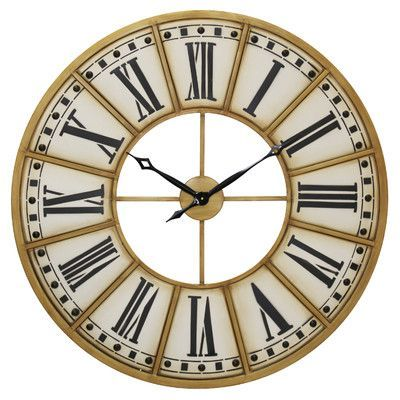 "Style Craft Harper Rustic Roman Numeral 40"" Wall Clock"