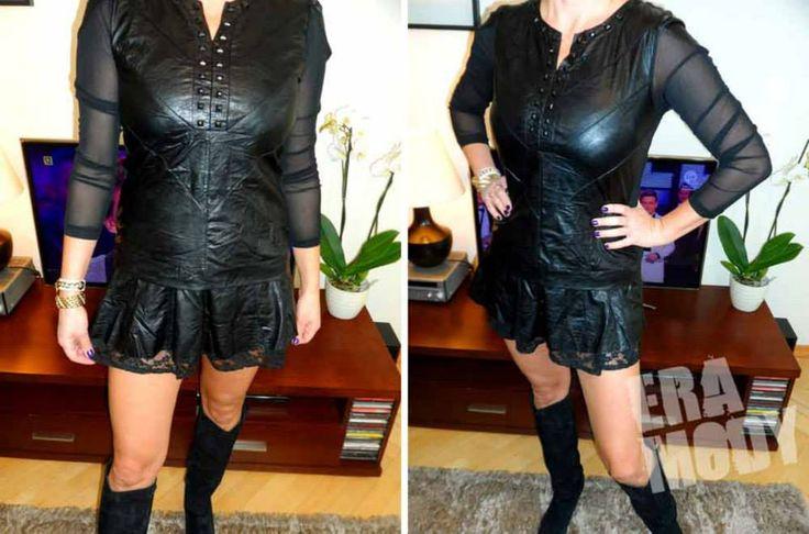 Nowa Kolekcja ! UNIKALNA Sukienka Tunika z EKO SKÓRY z KORONKĄ, modne ozdobne czarne ćwieki POLECAMY    Dostępna w rozm. M http://allegro.pl/new-unikatowa-wloska-sukienka-tunika-koronki-skora-i4856593461.html