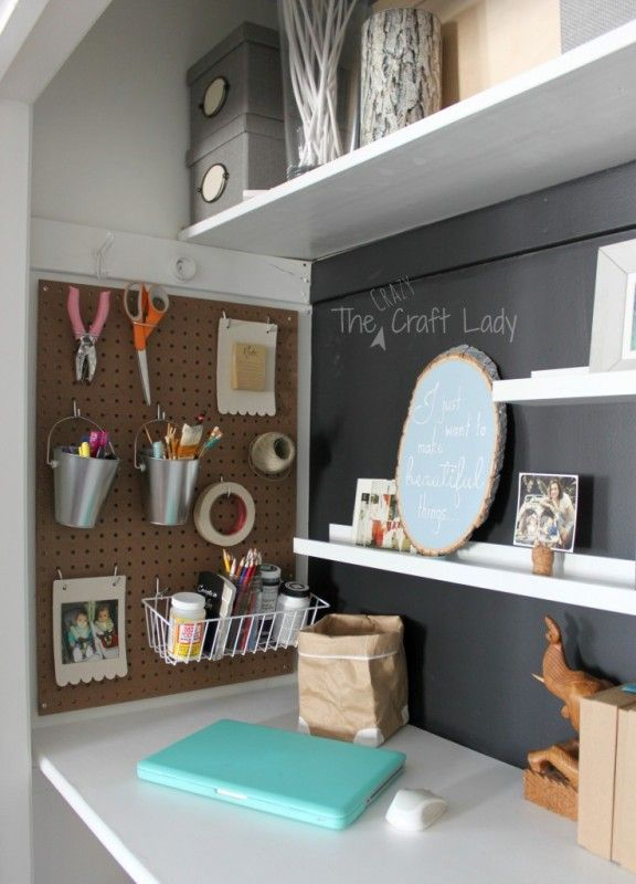 Craft space and home office in a closet – The Crazy Craft Lady featured on Remod…
