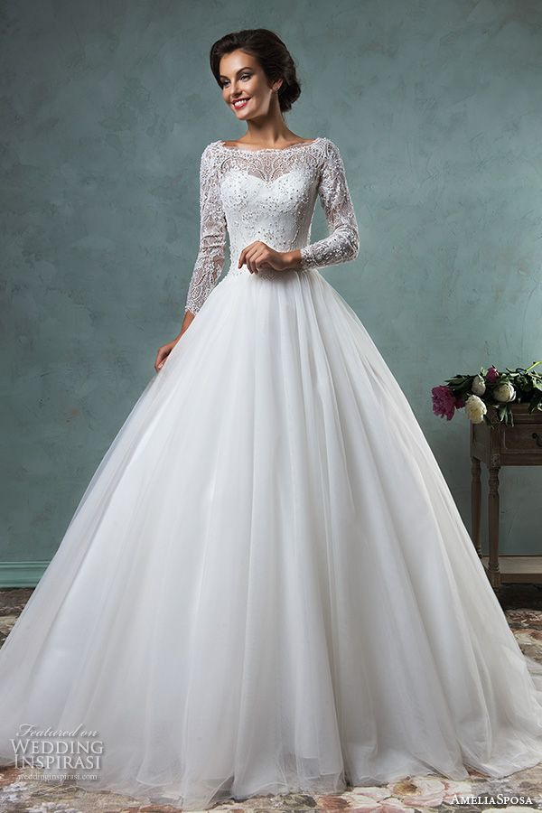 bateau neckline lace long sleeves beaded embellishment tulle skirt a line ball gown wedding dress jessica
