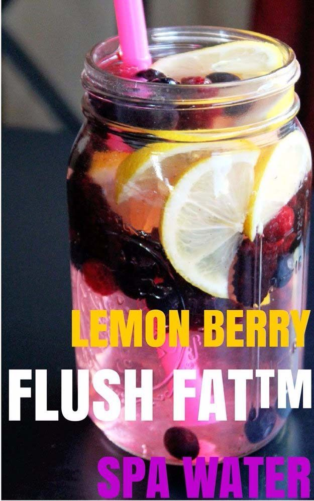 31 Detox Water Recipes for Drinks To Cleanse Skin and Body.  Easy to Make Waters and Tea Promote Health, Diet and Support Weight loss- Lemon Berry Flush Fat Spa Water http://diyjoy.com/diy-detox-water-recipes
