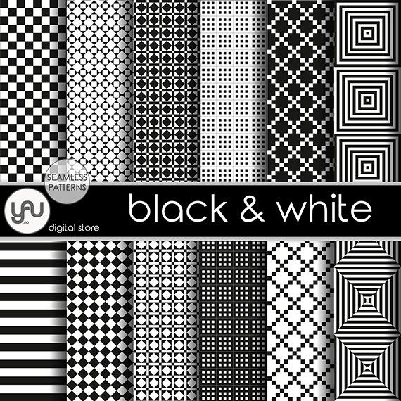 "Black digital paper: ""BLACK & WHITE"" with black and white geometric seamless patterns, black and white digital paper, black paper for cards"