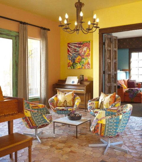 Chic Mexican Interior Design Eclectic Living RoomLiving