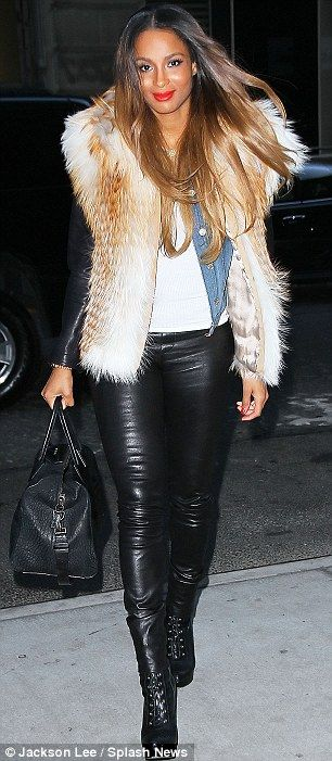 Ciara look with faux fur vest