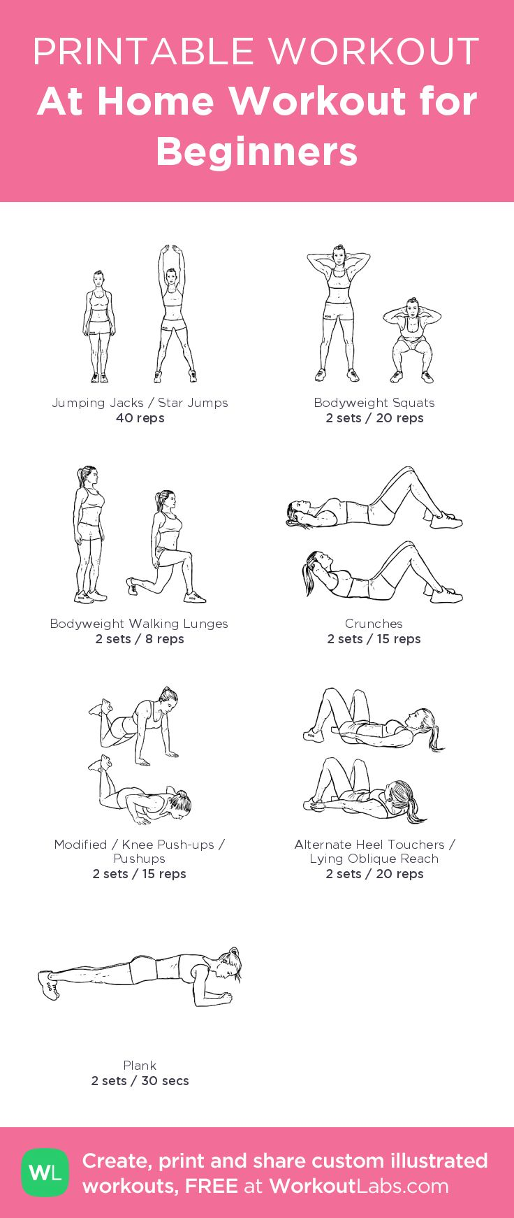At Home Workout for Beginners illustrated exercise plan