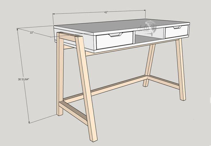 Aframe modern desk with drawers freestanding pdf etsy