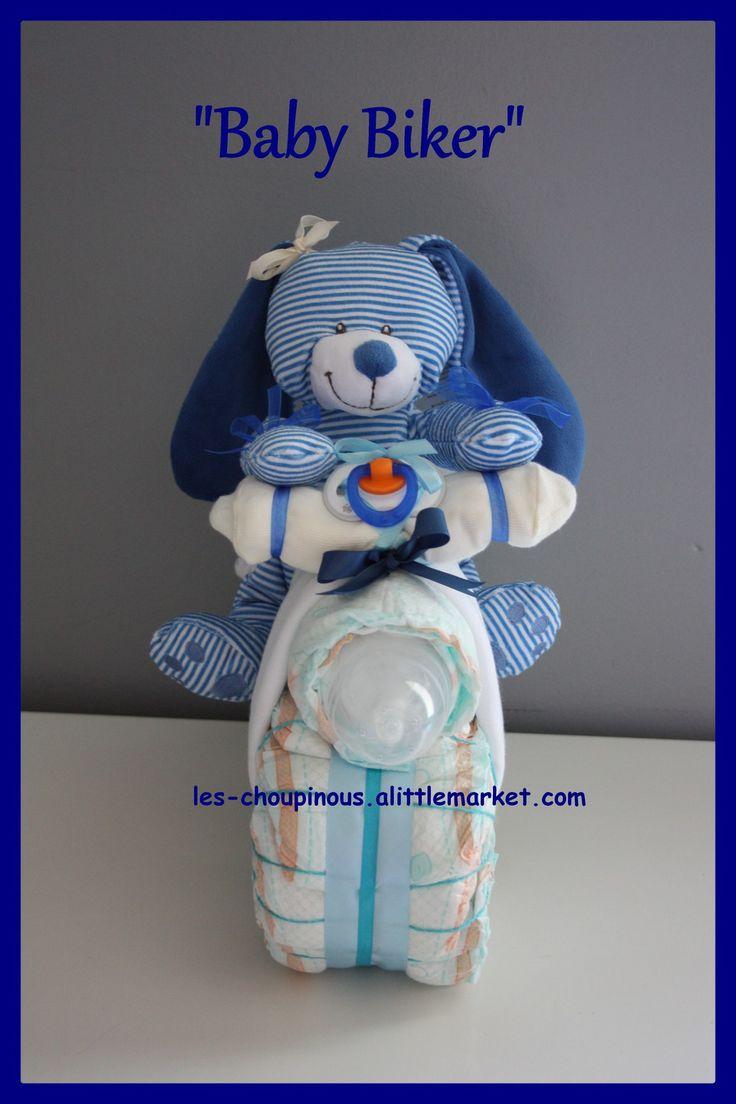 Cadeau original naissance baptême gâteau de couches moto : Décoration pour enfants par les-choupinous